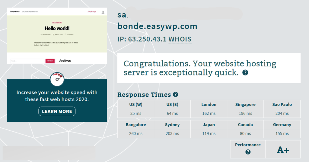 Easywp turbo response time
